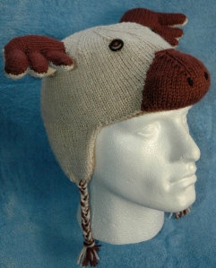 Reindeer Hat with stuffed nose and antlers, knitting pattern, knitsrus