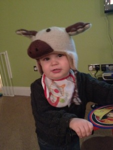 Liam in his knitted Reindeer Hat, knitting pattern, knitrus
