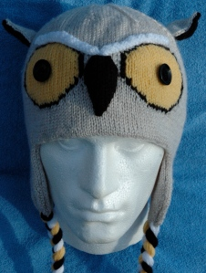 Front View Knitted Great Horned Owl Hat, knitting pattern, knits r us