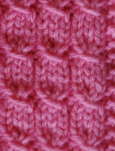 Pink Chunky Mock Cable Design, knits r us, knitting pattern